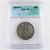 Certified 1938-D U.S. walking Liberty half dollar