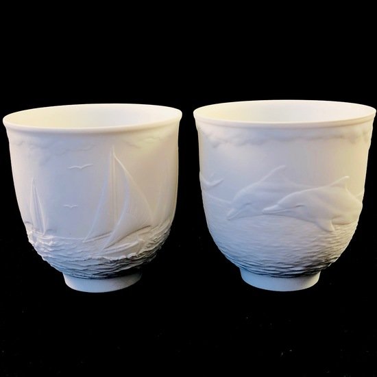 """Estate Lladro #14657 """"Sailing The Seas"""" & #17658 """"Dolphins At Play"""" cups with original boxes"""