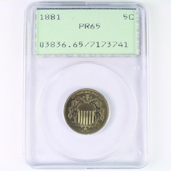 Certified 1881 proof U.S. shield nickel