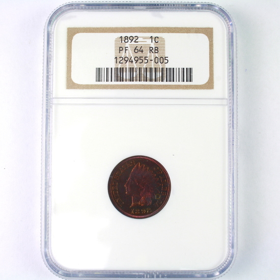 Certified 1892 proof U.S. Indian head cent