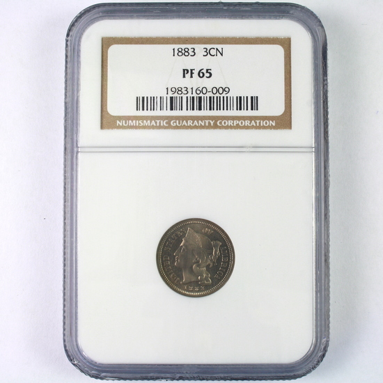Certified 1883 proof U.S. 3-cent nickel