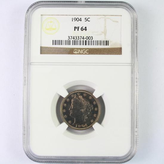 "Certified 1904 proof U.S. ""V"" nickel"