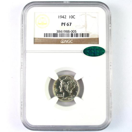Certified 1942 proof U.S. Mercury dime