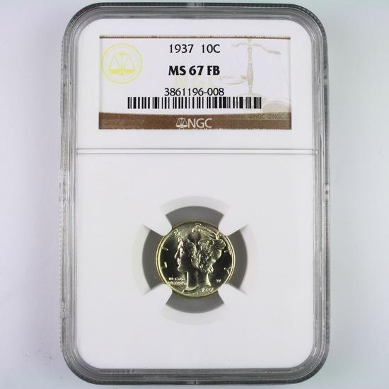Certified 1937 U.S. Mercury dime