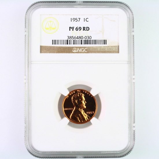 Certified 1957 proof U.S. Lincoln cent