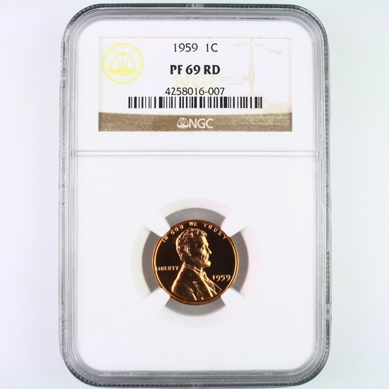 Certified 1959 proof U.S. Lincoln cent