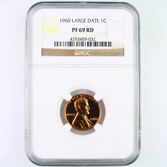 Certified 1960 large date proof U.S. Lincoln cent