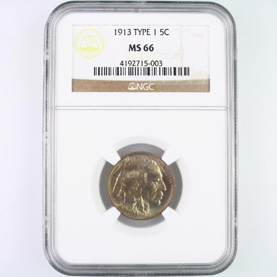 Certified 1913 type 1 U.S. buffalo nickel
