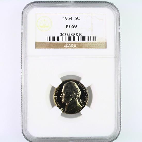 Certified 1954 proof U.S. Jefferson nickel