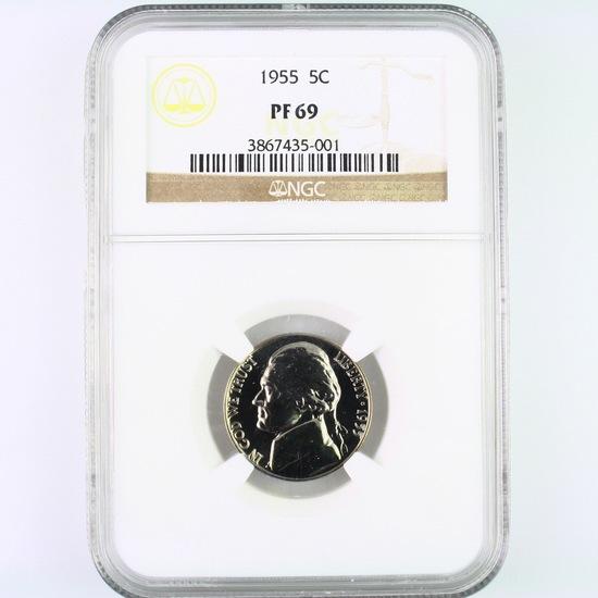 Certified 1955 proof U.S. Jefferson nickel