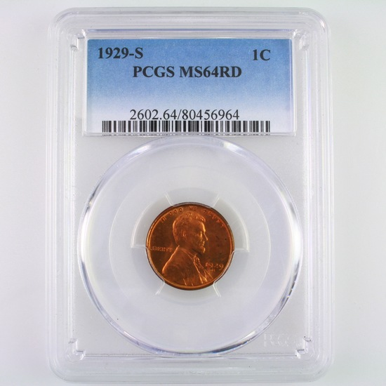 Certified 1929-S U.S. Lincoln cent