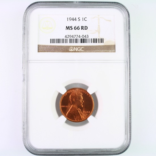 Certified 1944-S U.S. Lincoln cent