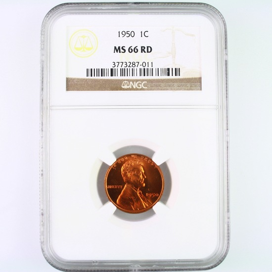 Certified 1950 U.S. Lincoln cent