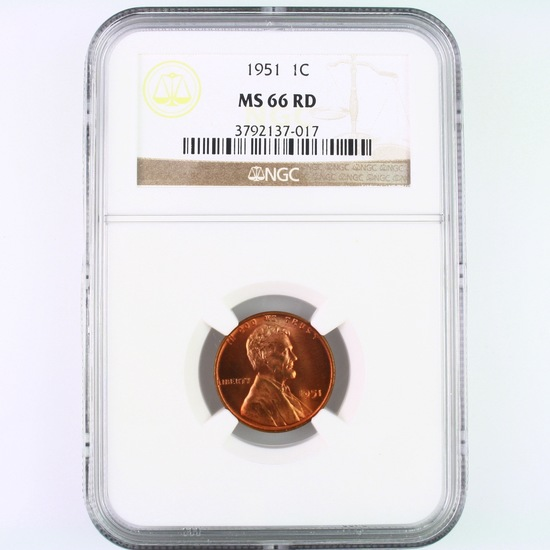 Certified 1951 U.S. Lincoln cent