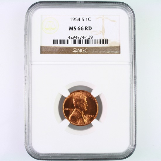 Certified 1954-S U.S. Lincoln cent