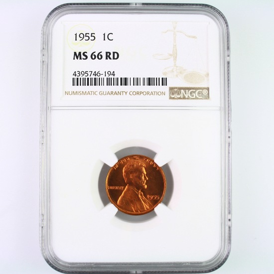 Certified 1955 U.S. Lincoln cent