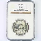 Certified 1942 U.S. walking Liberty half dollar