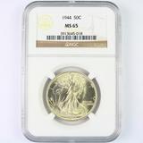 Certified 1944 U.S. walking Liberty half dollar