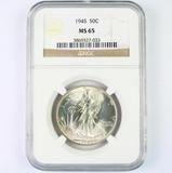 Certified 1945 U.S. walking Liberty half dollar