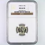 Certified 1940-D U.S. Mercury dime