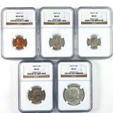 Certified 5-piece 1969-D U.S. Mint set