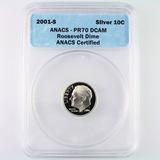 Certified 2001-S silver proof U.S. Roosevelt dime