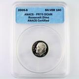 Certified 2005-S silver proof U.S. Roosevelt dime