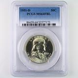 Certified 1951-D U.S. Franklin half dollar