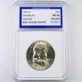 Certified 1951-S U.S. Franklin half dollar