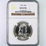 Certified 1952 U.S. Franklin half dollar