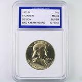 Certified 1953-D U.S. Franklin half dollar