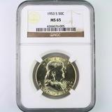 Certified 1953-S U.S. Franklin half dollar