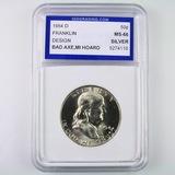 Certified 1954-D U.S. Franklin half dollar