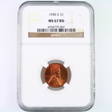 Certified 1945-S U.S. Lincoln cent
