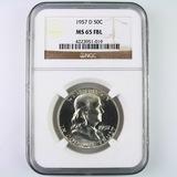 Certified 1957-D U.S. Franklin half dollar