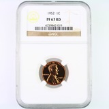 Certified 1952 proof U.S. Lincoln cent