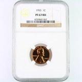 Certified 1953 proof U.S. Lincoln cent