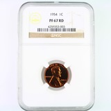 Certified 1954 proof U.S. Lincoln cent