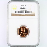 Certified 1963 proof U.S. Lincoln cent