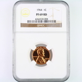 Certified 1964 proof U.S. Lincoln cent