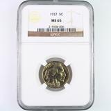 Certified 1937 U.S. buffalo nickel