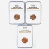Certified 3-piece 1965, 1966 & 1967 special Mint set U.S. Lincoln cent set