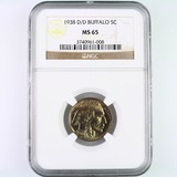 Certified 1938-D/D double-punched U.S. buffalo nickel
