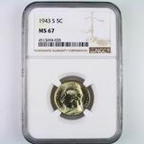 Certified 1943-S U.S. Jefferson nickel