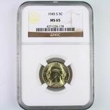 Certified 1945-S U.S. Jefferson nickel