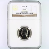 Certified 1951 proof U.S. Jefferson nickel