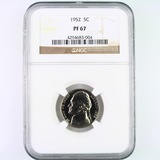 Certified 1952 proof U.S. Jefferson nickel