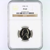 Certified 1958 proof U.S. Jefferson nickel