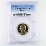Certified 1979-S type 1 proof U.S. Jefferson nickel