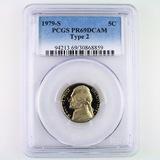 Certified 1979-S type 2 proof U.S. Jefferson nickel